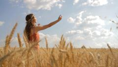 Beauty Pretty Girl Raising Hands in Thanksgiving Harvest healthy Lifestyle HD - stock footage