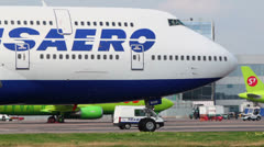 Transaero airlines aircraft rides near terminal of Sheremetyevo Stock Footage