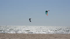 Kite surfing in waves. Splash. Chipiona, the city in Andalusia, Spain. Stock Footage