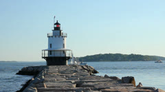 Lobster and Sail Boat Pass Spring Point Lighthouse on Early Summer Morning Stock Footage