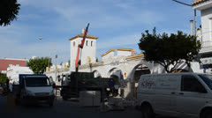 Market repair, Spain. Chipiona, the city in Andalusia, Spain. Stock Footage