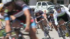 BIKE RACERS ROUND CORNER SLOW MOTION Stock Footage