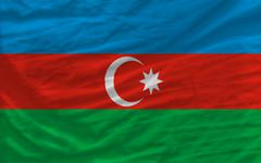 complete waved national flag of azerbaijan for background - stock photo