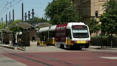 Stock Video Footage of dart light rail tram arriving at station, dallas, texas, usa