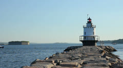 Lobster Boat Passes by Scenic Spring Point Lighthouse on Early Summer Morning Stock Footage