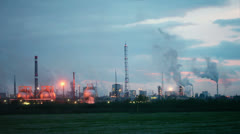 Industrial zone with factories and tubes with smoke Stock Footage
