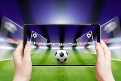 soccer online, sports game - stock illustration