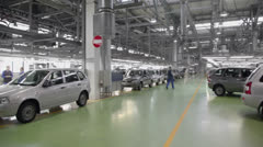 Panorama of hall with cars Lada Kalina at factory VAZ - stock footage