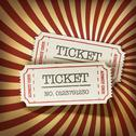 Stock Illustration of cinema tickets on retro rays background, vector.