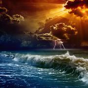 dramatic sunset - stock illustration