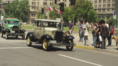 Stock footage Chile car parade in santiago chile Stock Footage