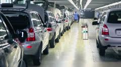 Row of new shiny passenger cars at Avtovaz factory Stock Footage