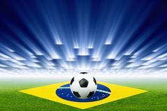 Soccer ball, stadium, spotlights Stock Illustration