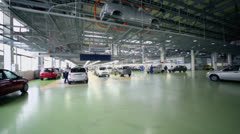 Hangar with production line of Lada Kalina cars at factory VAZ Stock Footage
