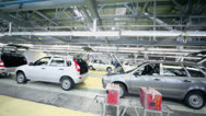 Stock Video Footage of Row of Lada Kalina cars on conveyer at factory VAZ