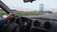 Test drive of Lada Granta, view from car at autodrome Stock Footage