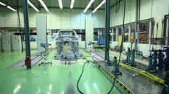 Equipment for accurate measurement of car bodies at Avtovaz Stock Footage