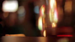 Out of Focus Beer Glasses on Bar HD Video - stock footage
