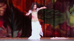 Little girl dances as participant of Bellydance Superiority - stock footage