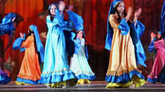 Teenage collective dance on stage of Red October Culture Palace - stock footage