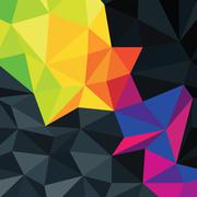 Stock Illustration of abstract triangles background with colorful accented area, vector.