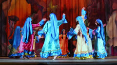 Teenage dancing collective on stage of Culture Palace - stock footage
