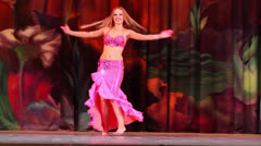 Red hair woman participant of Bellydance Superiority of Moscow Stock Footage