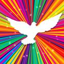 Stock Illustration of dove silhouette on psychedelic colored abstract background. vector, eps10