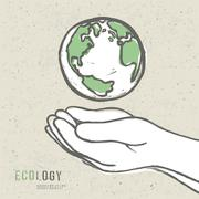 earth symbol in hands. vector - stock illustration