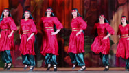 Stock Video Footage of Six girls collective in oriental suits dances on stage