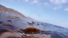POV bobbing in water underwater shot stranded seaweed ocean emergency outdoors Stock Footage