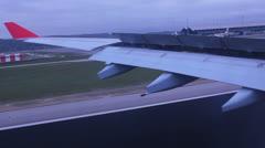 Airplane Seat Window. Airplane arriving in Madrid. Spain. Airfield 8 Stock Footage