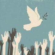 Group of hands and dove of peace. retro illustration, eps10 Stock Illustration