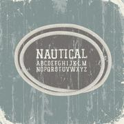 vintage nautical card with retro alphabet. vector, eps8 - stock illustration
