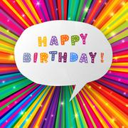 Stock Illustration of happy birthday card on colorful rays background. vector, eps10