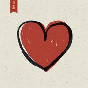Heart sign on paper texture. vector, eps10 Stock Illustration