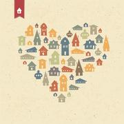 heart shaped many houses icons. realty concept. vector, eps10 - stock illustration