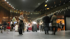Parents and children gathered in main hall at Christmas Ballet Stock Footage