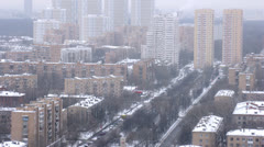 Aerial view of city with park during winter on daylight Stock Footage