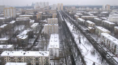 Aerial view of park in middle of city during winter, timelapse Stock Footage