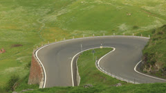 Curvy road with motor cycle Stock Footage