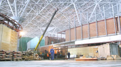 Workers building airport terminal at Domodedovo Airport Stock Footage