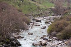 Tian Shan Mountain river in Kyrgyzstan Stock Photos