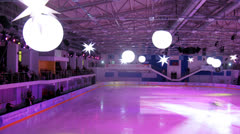 Young skaters display a show at Ice palace Mechta Stock Footage