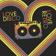 Love disco, love retro. vintage poster design template, vector, eps10 Stock Illustration