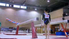 Young gymnasts competing at Stadium Dinamo Stock Footage