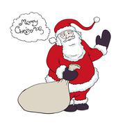 Santa claus with a sack of gifts congratulations says in baloon. vector illus Stock Illustration