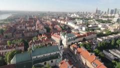 Aerial View of The Old Town and Panorama of Warsaw by HeliDog_Aerials Stock Footage