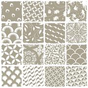Variety styles seamless patterns set. all patterns available in swatch palett Stock Illustration