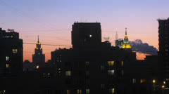 City panorama in the evening, zoom, time lapse Stock Footage